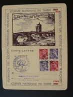 Carte Lettre Thème Pont Bridge Affranchissement Mercure Surchargé RF Journée Du Timbre Lyon 1944 N° 82792 - Liberation