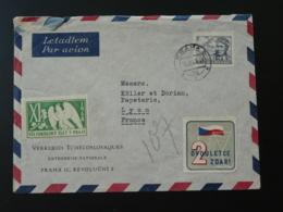 Lettre Par Avion Air Mail Cover Avec Vignette Aigle Eagle Cinderella Praha Tchecoslovaquie 1947 - Tchéquie