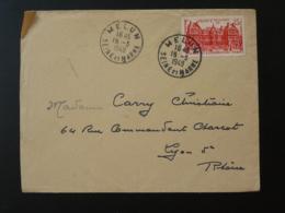 Timbre Palais Du Luxembourg Gravé Decaris Seul Sur Lettre Oblit Melun 77 Seine Et Marne 1949 - Marcophilie (Lettres)