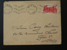 Timbre Palais Du Luxembourg Gravé Decaris Seul Sur Lettre Flamme Melun 77 Seine Et Marne 1949 - Marcophilie (Lettres)