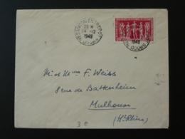 Timbre Assemblée Chambre De Commerce Seul Sur Lettre Oblit Besancon Entrepot Doubs 1949 - Marcophilie (Lettres)