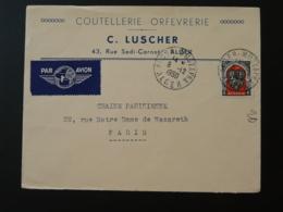 Lettre Par Avion Coutellerie Orfevrerie Oblit. Alger Mustapha Algérie 1950 - Algérie (1924-1962)