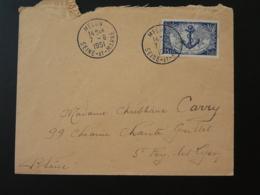 Timbre Troupes Coloniales Ancre De Marine Seul Sur Lettre Melun 77 Seine Et Marne 1951 - Marcophilie (Lettres)