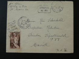 Timbre Falconnet Croix Rouge Seul Sur Lettre Flamme Daguin Sois Prudent En Foret Sainte Maxime 83 Var 1951 - Marcophilie (Lettres)