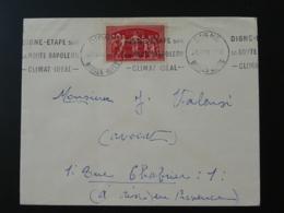 Timbre UPU Seul Sur Lettre Flamme Route Napoleon 04 Digne 1955 - Marcophilie (Lettres)