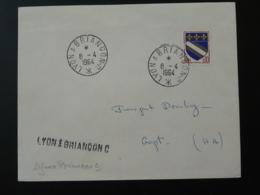 Cachet Ambulant Sur Lettre Lyon à Briancon C Railway Post Office Postmark 1964 - Marcophilie (Lettres)
