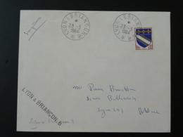 Cachet Ambulant Sur Lettre Lyon à Briancon B Railway Post Office Postmark 1964 - Marcophilie (Lettres)
