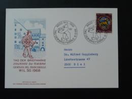 Carte Commemorative Card Pro Patria Journée Du Timbre Tag Der Briefmarke Wil Suisse 1968 - Storia Postale