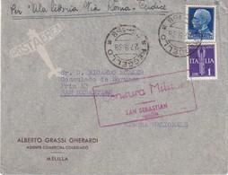 ITALIE  1938 LETTRE DE REGELLO CENSURE MILITAIRE DE SAN SEBASTIAN - Marcas De Censura Nacional