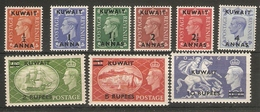 KUWAIT 1950 - 1955 SET SG 84/92 LIGHTLY MOUNTED MINT Cat £110 - Kuwait