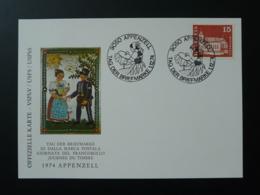 Carte Commemorative Card Dentelle Lace Journée Du Timbre Tag Der Briefmarke Appenzell Suisse 1974 - Textile