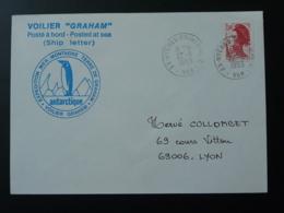 Lettre Cover Expedition En Antarctique Terre De Graham Postée à Bord Du Voilier Graham Oblit. Hyères Ppal C 1983 - Expéditions Antarctiques