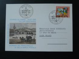 Carte FDC Pro Juventute Journée Du Timbre Tag Der Briefmarke Vevey Suisse 1984 - Pro Juventute