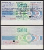 DDR Reisescheck 500 Mark Eingelöst In Budapest/Ungarn    (19979 - 1949-1990: DDR