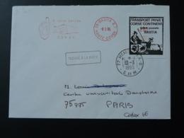 Lettre Vignette Grève Postale + Cachet Trouvé à La Boite Et EMA Chambre De Commerce De Bastia Corse 1995 - Marcophilie (Lettres)