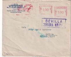 ITALIE  1938 LETTRE DE TORINO  CENSURE MILITAIRE DE SEVILLA - Marcas De Censura Nacional