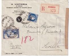 FRANCE   1938 LETTRE RECOMMANDEE DE BIARRITZ CENSURE MILITAIRE DE SAN SEBASTIAN - Nationalistische Zensur