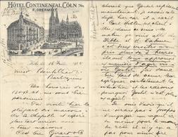 Allemagne - Lettre Avec Entête - Grosse Correspondance 16 Juin 1894 - Hôtel Continental,Cöln - F.Obermeit - Köln - Sports & Tourisme
