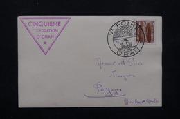 ALGÉRIE - Oblitération Et Carte De La Foire D'Oran En 1954 - L 22263 - Algérie (1924-1962)