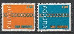 MiNr. 975 - 976  San Marino 1971, 29. Mai. Europa. RaTdr. (1010); Gez. K 13:14. - Ungebraucht