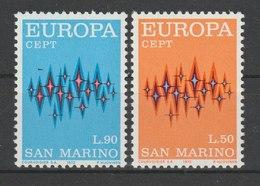 MiNr. 997 - 998  San Marino 1972, 27. April. Europa. RaTdr. (105); Gez. K 11. - Ungebraucht