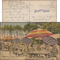 États-Unis 1943. Carte De Franchise Militaire. Soldats Buvant à La Bouteille, Parasols. Fort Pickett - Boissons