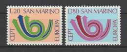 MiNr. 1029 - 1030  San Marino 1973, 10. Mai. Europa. RaTdr. (510); Gez. K 11. - San Marino