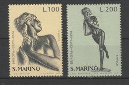 MiNr. 1067 - 1068  San Marino 1974, 9. Mai. Europa: Skulpturen. Komb. StTdr. Und Odr. (105); Gez. K 13:14. - Ungebraucht