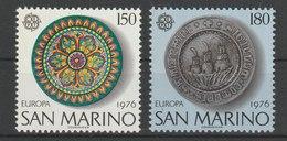 MiNr. 1119 - 1120  San Marino 1976, 8. Juli. Europa: Kunsthandwerk. RaTdr. (57); Gez. K 11. - Ungebraucht