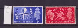Grande Bretagne - Great Britain - Großbritannien 1951 Y&T N°260 à 261 - Michel N°255 à 256 *** - Festival National - 1952-.... (Elizabeth II)