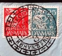 1933 Danemark Yt 181, 183 Sailship . Belle Oblitération Sur Fragment D'enveloppe - 1913-47 (Christian X)