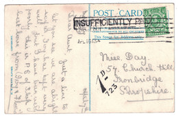 """1913? - POSTCARD With """" PAQUEBOT SOUTHAMPTON + INSUFFICIENTLY PAID """" (POSTAGE DUE) TIMBRE HALF PENNY UK DEMOSTHENES 723 - Cartas"""