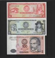 B 100 - PEROU Lot De 3 Billets états Neufs - Pérou
