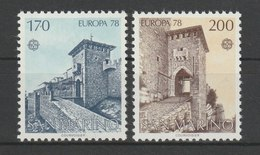 MiNr. 1156 - 1157  San Marino 1978, 30. Mai. Europa: Baudenkmäler. RaTdr. (105); Gez. K 11. - San Marino