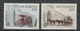 MiNr. 1172 - 1173  San Marino 1979, 29. März. Europa: Geschichte Des Post- Und Fernmeldewesens. RaTdr. (510); Gez. K 11. - Ungebraucht