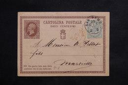 ITALIE - Entier Postal + Complément De San Remo Pour La France En 1877 - L 22273 - 1861-78 Victor Emmanuel II.