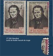 """FR Variétés YT 550 """" Stendhal """" Maculé De Rouge - Variétés Et Curiosités"""