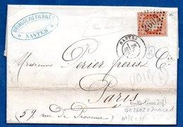 Facture De Nantes - Pour Paris  -  28/11/1872  - Entreprise Briaudeau - Postmark Collection (Covers)