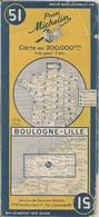 FRANCE - BOULOGNE-LILLE - CARTE  ROUTIÈRE MICHELIN - N° 51 - 200.000ème (1951) - Cartes Routières