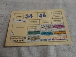 TESSERA ABBONAMENTO MENSILE AMAT  PALERMO CON DIVERSE MARCHE-1992 - Abbonamenti
