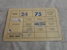 TESSERA ABBONAMENTO MENSILE AMAT  PALERMO- MARCHE-1992 - Abbonamenti
