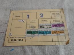 TESSERA ABBONAMENTO MENSILE AMAT  PALERMO- MARCHE-1992 - Europa