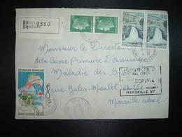 DEVANT LR TP ST FLORENT 3,00 + LE SAUT DU DOUBS 0,60 Paire + M. DE CHEFFER 0,30 Paire OBL.26-9 1974 MARSEILLE-/LE MERLAN - Marcophilie (Lettres)