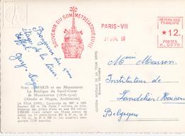 Empreinte Machine Souvenir Du Sommet De La Tour Eiffel - 1958 - Marcophilie (Lettres)