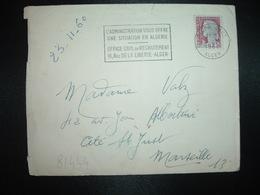 LETTRE TP M. DE DECARIS 0,25 OBL.MEC.22-11 1960 ALGER GARE ALGER L'ADMINISTRATION VOUS OFFRE UNE SITUATION EN ALGERIE - Algérie (1924-1962)