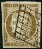 Oblit. N°1 10c Bistre - TB - 1849-1850 Cérès