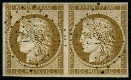 Oblit. N°1 10c Bistre, Paire Horizontale Obl PC 3205 - TB - 1849-1850 Cérès