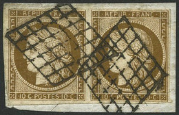 Oblit./fragment N°1a 10c Bistre-brun, Paire S/fragment Filets Intacts - TB - 1849-1850 Cérès