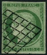 Oblit. N°2 15c Vert - TB - 1849-1850 Cérès
