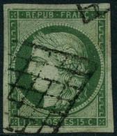 Oblit. N°2 15c Vert - TB - 1849-1850 Ceres